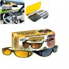 Set complet  pentru zi/noapte: Parasolar auto HD + set 2 perechi ochelari