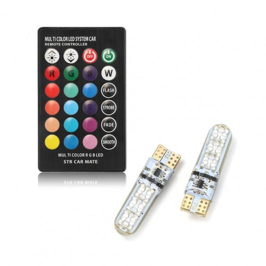 Set becuri led T10, RGB, cu schimbare lumina din telecomanda