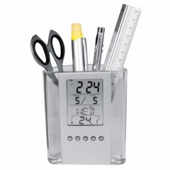 Suport pixuri cu afisaj LCD pentru calendar, termometru si ceas