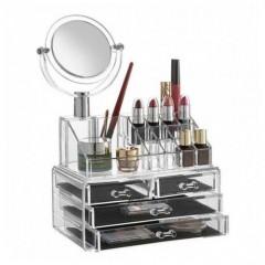 Organizator de cosmetice cu oglinda inclusa
