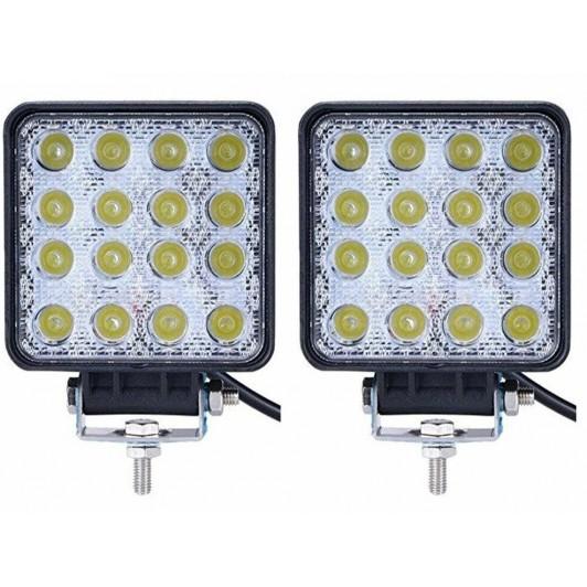Set 2 x Proiector LED auto offroad 48W 12V-24V, 3520 lumeni, patrat