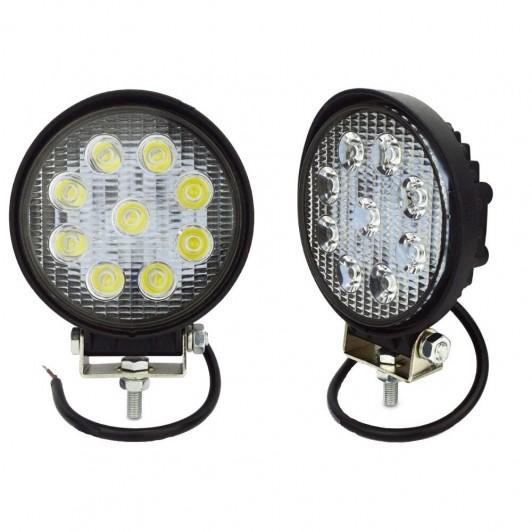 Set 2 x Proiector LED Auto Offroad 27W12V-24V, 1980 Lumeni Rotund