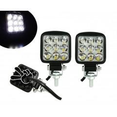 Set 2 x Mini Proiector LED Auto Offroad 27W 12V-24V, Patrat