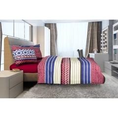 Lenjerie de pat pentru 2 persoane, bumbac, burgundy, 4 piese