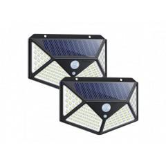 Set 2 lampi 100 LED, 3 moduri de functionare, incarcare solara si senzor de miscare