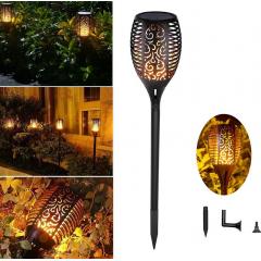 Lampa solara LED cu panou solar, pentru curte sau gradina cu efect de flacara