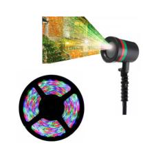 Pachet Proiector laser, interior/exterior + Banda LED 5 m, cu telecomanda si joc  lumini multicolore