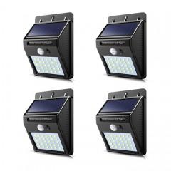 Set 4 lampi solare 30 leduri, incarcare solara si senzor de miscare
