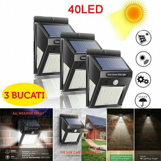 Set 3 lampi solare 40 LED cu senzor de miscare