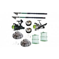 Set pescuit cu 2 lansete de 2.4 m, 2 mulinete, 2 fire Cool Angel juvelnic, palarii, monturi si fir