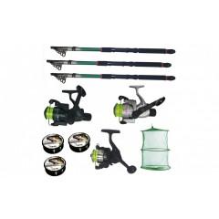Set pescuit cu 3 lansete de 3,6 m, 3 mulinete, 3 fire Cool Angel si juvelnic