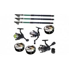 Set pescuit cu 3 lansete de 3.6 m, trei mulinete si guta