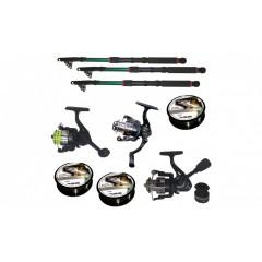Set pescuit cu 3 lansete de 2,4m, trei mulinete si guta