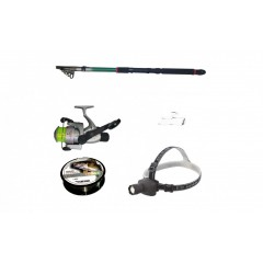 Set pescuit cu lanseta 3,6 m, mulineta CB440, lanterna frontala led, montura si fir