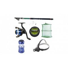 Set pescuit sportiv cu lanseta 2.4 m, mulineta YF200 cu 5 rulmenti, felinar solar, lanterna frontala