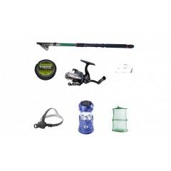 Set pescuit sportiv cu lanseta 2.4 m, mulineta cu 5 rulmenti , felinar solar, lanterna frontala