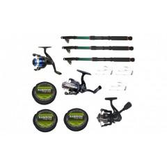 Set 3 mulinete echipate pentru pescuit sportiv cu lansete de 3.6 m si fir