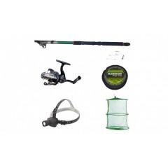 Pachet complet pescuit sportiv cu lanseta 3.6m, mulineta QFC1000 cu 5 rulmenti