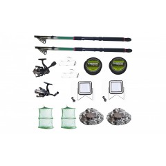 Set 2 lansete pescuit sport, 2 mulinete, doua proiectoare si accesorii