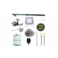 Set lanseta 3.6 m pescuit sportiv, mulineta QFC1000, fir, montura, plus accesorii