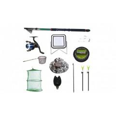 Set lanseta 3.6 m pescuit sportiv, mulineta YF200, fir, montura, proiector solar plus accesorii