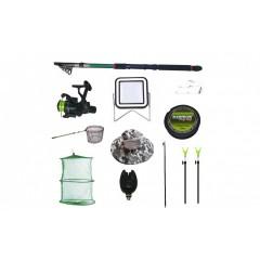 Set lanseta 3.6 m pescuit sportiv, mulineta CB340, fir, montura, proiector solar si accesorii