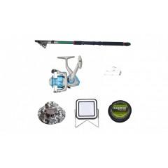 Set lanseta 3.6 m pescuit sportiv, mulineta DB5000, fir, montura, proiector solar si palarie