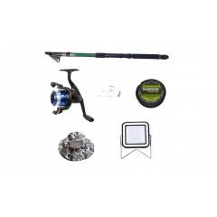 Set lanseta 3.6 m pescuit sportiv, mulineta YF200, plastic solid, fir, montura, proiector solar