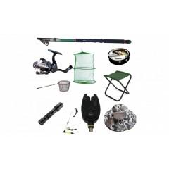 Set cu lanseta pescuit telescopica 3.6m, mulineta QFC1000 pentru Pescuit Sportiv si accesorii