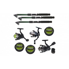 Set pescuit sportiv cu 3 lansete de 2,4 m Cool Angel, trei mulinete si gute