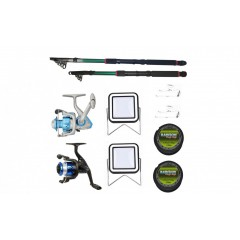 Set 2 lansete 3.6 m pescuit, mulineta DB5000 si YF200, doua gute, doua monturi si proiectoare solare