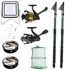 Set pescuit sportiv cu 2 lansete eastshark 2,4 m, doua mulinete, proiector solar si accesorii