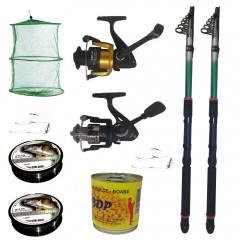 Pachet de pescuit cu 2 lansete fishing line 3,6 m, mulinete si accesorii