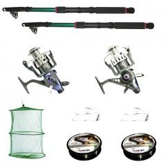 Kit de pescuit sportiv cu 2 lansete 3.6m, doua mulinete baitrunner cool angel 11 rulmenti si tambur