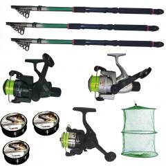 Set pescuit cu 3 lansete de 3 m, 3 mulinete, 3 fire Cool Angel si juvelnic