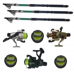 Kit pescuit sportiv cu trei lansete 3,6m EastShark, trei mulinete Cobra si gute