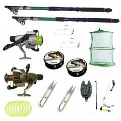 Kit pescuit sportiv cu doua lansete 3,6m EastShark, doua mulinete Cobra si accesorii
