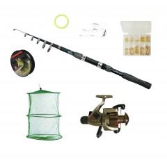 Set pescuit sportiv cu lanseta de 3,6 m, mulineta Cobra 5 rulmenti, juvelnic si accesorii