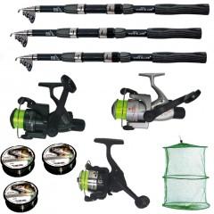 Set pescuit sportiv cu lanseta de 2.7 metri, 3 mulinete, 3 fire si juvelnic cu 3 inele