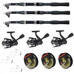 Kit pescuit sportiv cu lanseta WindBlade de 3.6m, 3 mulinete CFC2000, 3 fire si juvelnic cu 3 inele