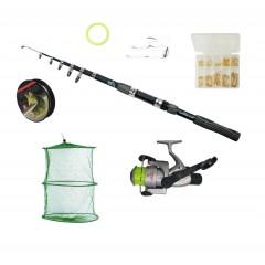 Set pescuit cu lanseta de 3,6 m, mulineta Cb440 rulmenti, juvelnic si accesorii