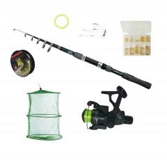 Set pescuit  cu lanseta de 3,6 m, mulineta CB340 cu 3 rulmenti, juvelnic si accesorii