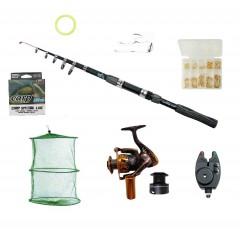 Set complet de pescuit cu lanseta de 3,6 m, mulineta MA2000, juvelnic, senzor, accesorii