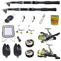 Set complet de pescuit sportiv cu lanseta de 3.6 m,mulinete Cobra, 2 senzori si accesorii