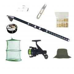 Set complet de pescuit cu lanseta EagleKing de 2.7 m, mulineta DPR200, juvelnic, guta, si accesorii