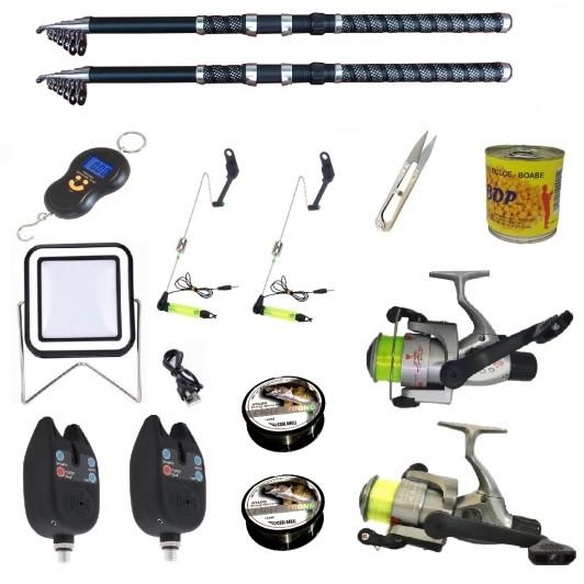 Set complet de pescuit sportiv cu lanseta de 2.7 m, mulinete Cobra, 2 senzori si accesorii