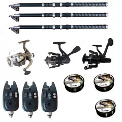Set pescuit sportiv cu lanseta de 3.6 m, 3 mulinete, 3 senzori si 3 gute