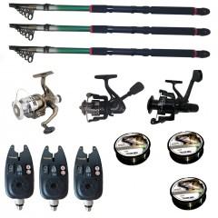Set pescuit sportiv cu 3 lansete de 2.4m Gold Shark, 3 mulinete, 3 senzori si 3 gute