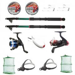 Set pescuit cu doua lansete eastshark 2,7m, doua mulinete YF200 si accesorii