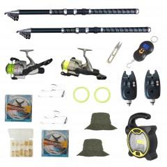 Set de pescuit cu 2 lansete Eagle 2.7m, 2 mulinete cobra, 2 senzori, proiector solar si accesorii